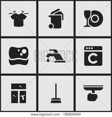 Set Of 9 Editable Dry-Cleaning Icons. Includes Symbols Such As Plate, Whisk, Washing Tool And More. Can Be Used For Web, Mobile, UI And Infographic Design.