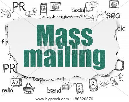 Marketing concept: Painted green text Mass Mailing on Torn Paper background with  Hand Drawn Marketing Icons