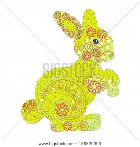 Hand drawn ornamental colorful hare for coloring page and print, stock vector illustration