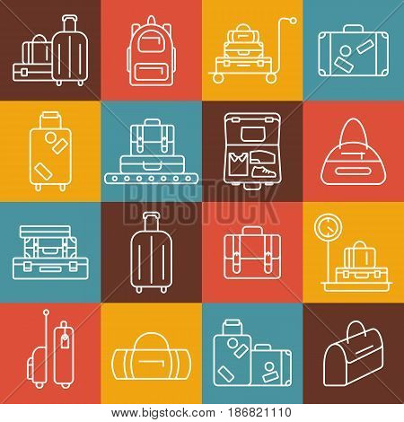 Luggage icon set. Backpack, handbag, suitcase, briefcase, messenger bag, trolley, travel bag. Vector illustration of thin line icons for travel. Abstract isolated illustration.