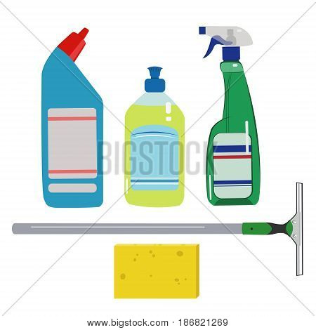 Means for cleaning and washing windows - illustration