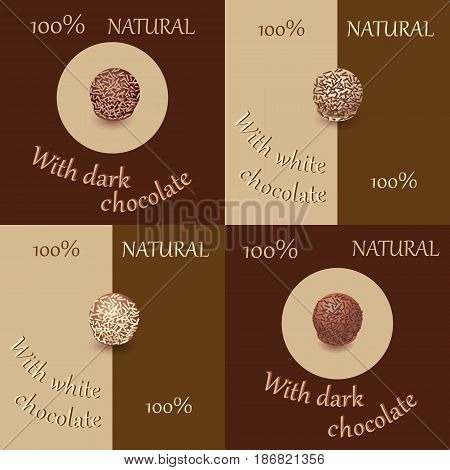 Round candies in chocolate with sprinkling. Set. Emblem. Design for menus, napkins, tablecloths, packaging materials, printing on fabric or paper