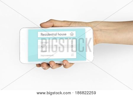 Real estate residential investment graphic on mobile phone