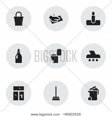 Set Of 9 Editable Dry-Cleaning Icons. Includes Symbols Such As Whisk, Hoover, Pail And More. Can Be Used For Web, Mobile, UI And Infographic Design.
