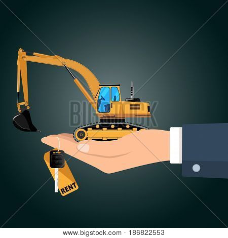 Hand holding the excavator with key for rent and the figurine vector illustration.