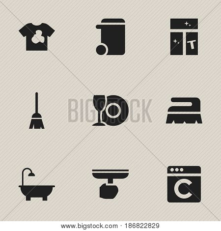 Set Of 9 Editable Hygiene Icons. Includes Symbols Such As Washing Glass, Plate, Laundress And More. Can Be Used For Web, Mobile, UI And Infographic Design.