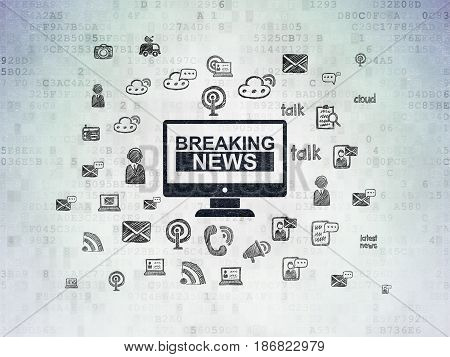 News concept: Painted black Breaking News On Screen icon on Digital Data Paper background with  Hand Drawn News Icons