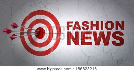 Success news concept: arrows hitting the center of target, Red Fashion News on wall background, 3D rendering