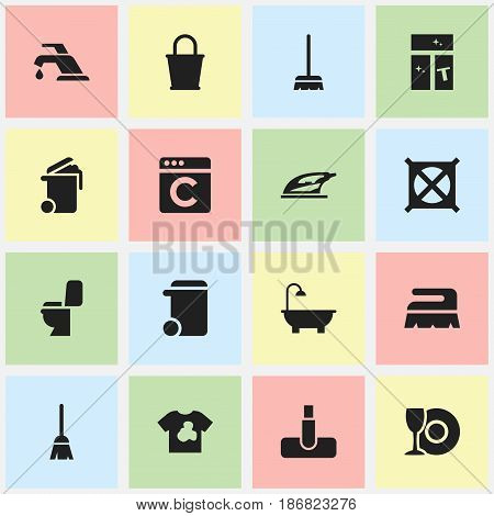 Set Of 16 Editable Cleaning Icons. Includes Symbols Such As Washing Glass, Hoover, Faucet And More. Can Be Used For Web, Mobile, UI And Infographic Design.