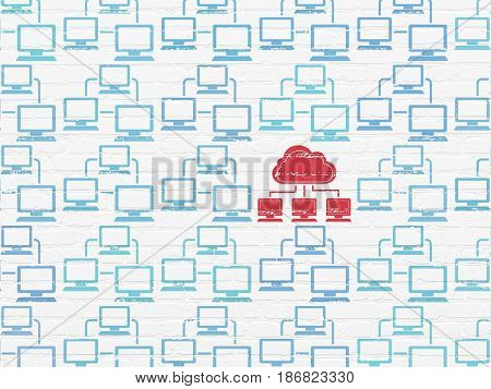 Cloud technology concept: rows of Painted blue lan computer network icons around red cloud network icon on White Brick wall background