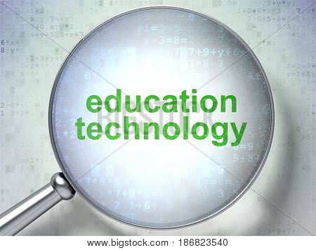Learning concept: magnifying optical glass with words Education Technology on digital background, 3D rendering