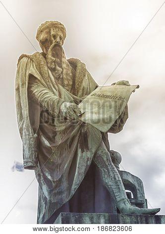Johannes Gutenberg statue holding a parchment , Strasbourg, France