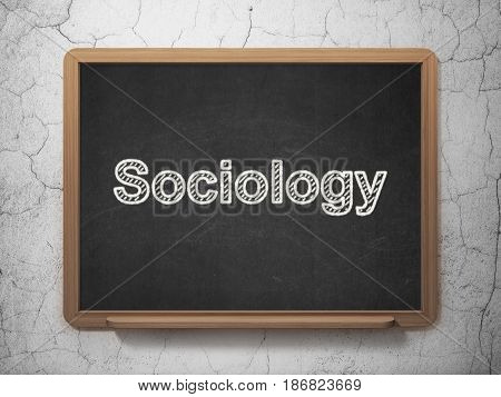 Education concept: text Sociology on Black chalkboard on grunge wall background, 3D rendering