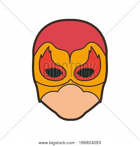 colorful silhouette with faceless man superhero masked with flame around the eyes and thick contour vector illustration