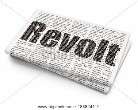 Political concept: Pixelated black text Revolt on Newspaper background, 3D rendering