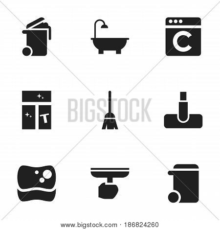Set Of 9 Editable Cleanup Icons. Includes Symbols Such As Broomstick, Bathroom, Container And More. Can Be Used For Web, Mobile, UI And Infographic Design.