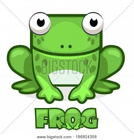 Cute cartoon square green frog. Set vector animals