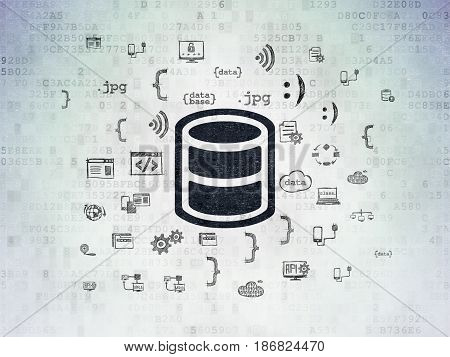 Database concept: Painted black Database icon on Digital Data Paper background with  Hand Drawn Programming Icons