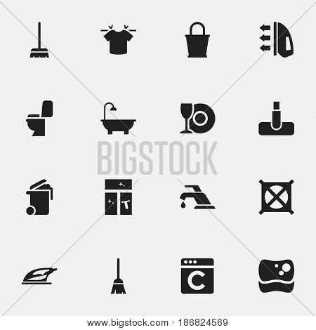 Set Of 16 Editable Dry-Cleaning Icons. Includes Symbols Such As Whisk, Washing Tool, No Laundry And More. Can Be Used For Web, Mobile, UI And Infographic Design.