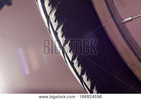 bicycle wheel city tyre close-up macro shot