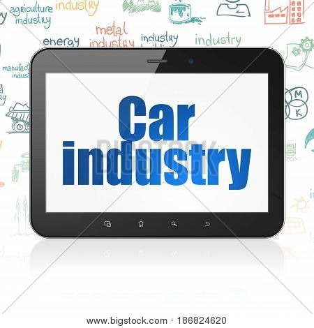 Industry concept: Tablet Computer with  blue text Car Industry on display,  Hand Drawn Industry Icons background, 3D rendering