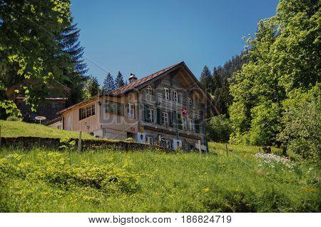 UNTERBACH SWITZERLAND - JUNE 13 2013: Typical switzerland wooden house on green meadow. Switzerland