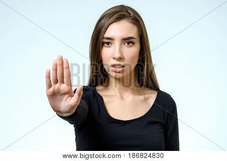 Young Woman Making Rejection Pose
