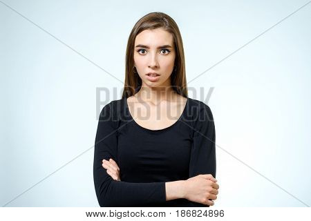 Young Upset Woman. Isolated On White Background