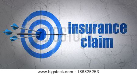 Success Insurance concept: arrows hitting the center of target, Blue Insurance Claim on wall background, 3D rendering