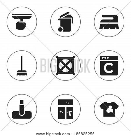 Set Of 9 Editable Cleanup Icons. Includes Symbols Such As Laundress, Sweep, Brush And More. Can Be Used For Web, Mobile, UI And Infographic Design.