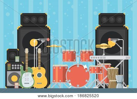 Musical instruments. Vector flat illustration colorful set