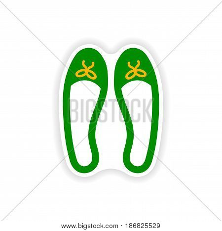 stylish paper sticker on white background women's shoes