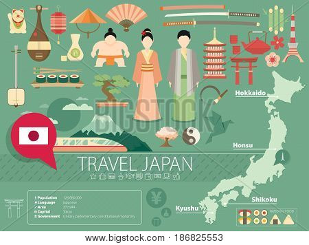 Japan Flat Icons Design Travel Concept. Vector