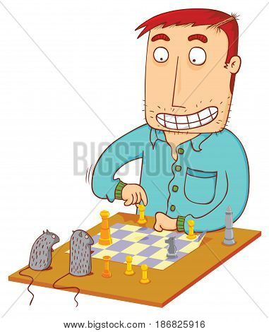 a man do a chess time with mouses