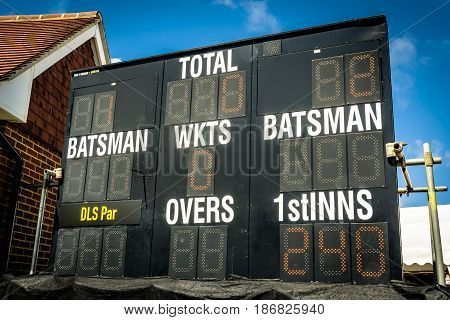 Electronic cricket scoreboard showing run chase in second innings