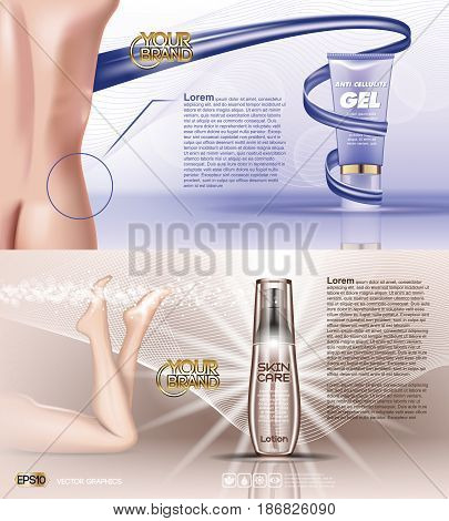 Digital vector blue violet anti cellulite skin care and legs cosmetic container mockup with gel, your brand, for print ads design. Female back. Transparent and shine, realistic 3d style