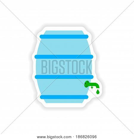 stylish paper sticker on white background keg beer