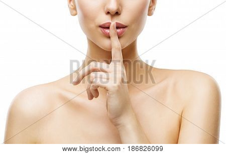 Woman Finger on Mouth Quiet Lips Silence Sign Face Beauty and Skin Care Secret