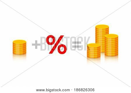Stack of gold coins plus percent is equal to many stacks of gold coins on white background. Formula of success in business and profit receiving