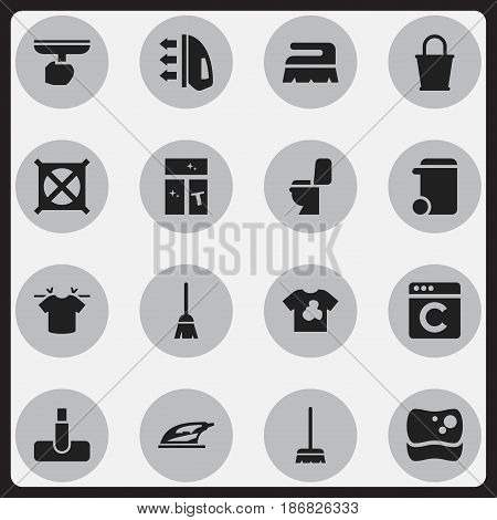 Set Of 16 Editable Cleaning Icons. Includes Symbols Such As Laundress, Unclean Blouse, Hoover And More. Can Be Used For Web, Mobile, UI And Infographic Design.