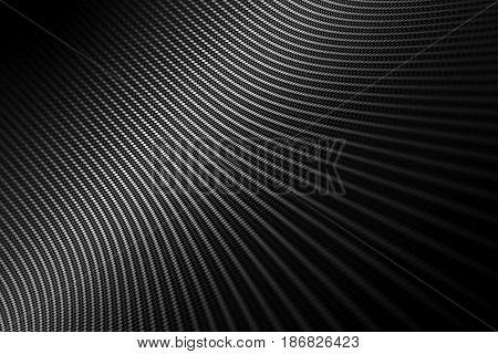 Modern background with distorted black carbon fiber smooth on surface under angle.