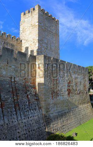 Tower of Moorish Saint George Castle (Sao Jorge Castle) in Lisbon Portugal
