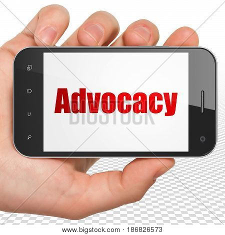 Law concept: Hand Holding Smartphone with red text Advocacy on display, 3D rendering