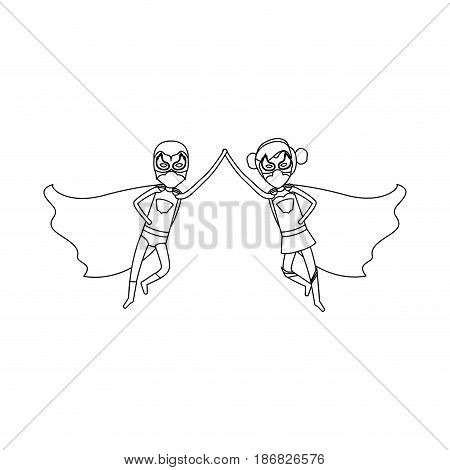 monochrome silhouette faceless of duo of superheroes flying united of the hands and her with collected hair vector illustration