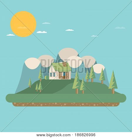 House. Flat style. Mountains and trees.  Vector.