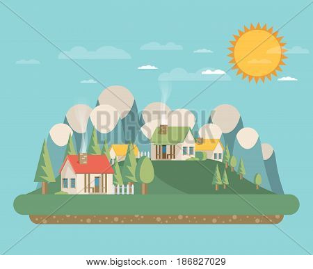Houses. Flat style. Mountains and trees. Vector.