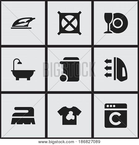 Set Of 9 Editable Hygiene Icons. Includes Symbols Such As Plate, Unclean Blouse, Dustbin And More. Can Be Used For Web, Mobile, UI And Infographic Design.