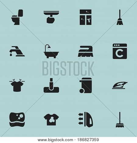 Set Of 16 Editable Cleaning Icons. Includes Symbols Such As Brush, Clean T-Shirt, Unclean Blouse And More. Can Be Used For Web, Mobile, UI And Infographic Design.