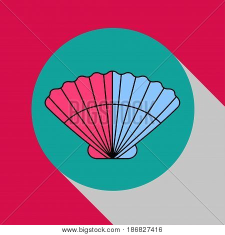 Sea scallop. Modern flat icon, logo seafood. Circle with shadow. Vector illustration.