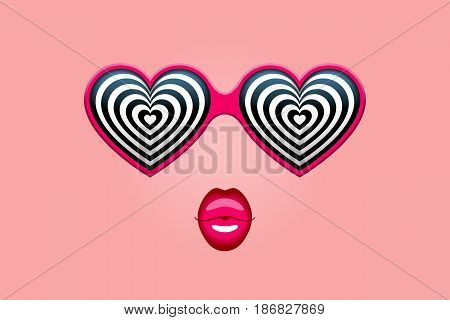 Glamorous heart-shaped sunglasses with hypnotic heart patterns instead of glasses and pink lips